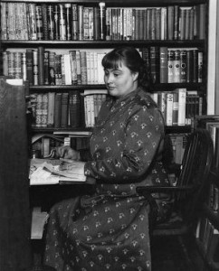 detective fiction author margery allingham at her desk - copyright Margery Allingham Society
